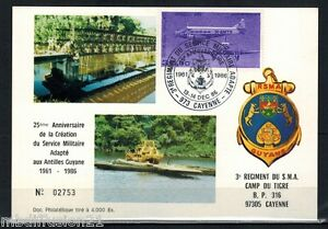 1986-GUYANE-FDC-CARTE-1-JOUR-RSMA-OBL-973-CAYENNE-TIMBRE-WIBAULT-283-Y-T-PA-59