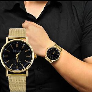 Luxus-Golden-Herren-Uhr-Armbanduhr-Edelstahl-Klassisch-Analog-Quarz-Watch
