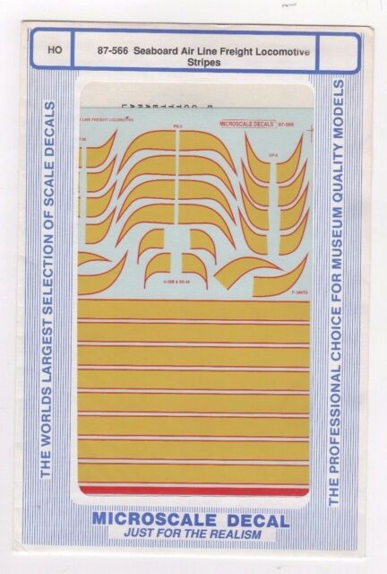 Microscale Decal HO  #87-566 Seaboard Air Line Hood Diesel Stripes use with 87