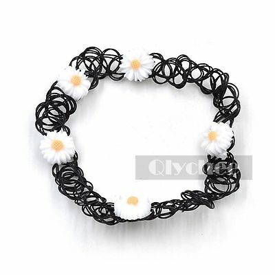 1X White Daisy Tattoo Choker Plastic Stretch  Necklace Elastic 90S Chocker New