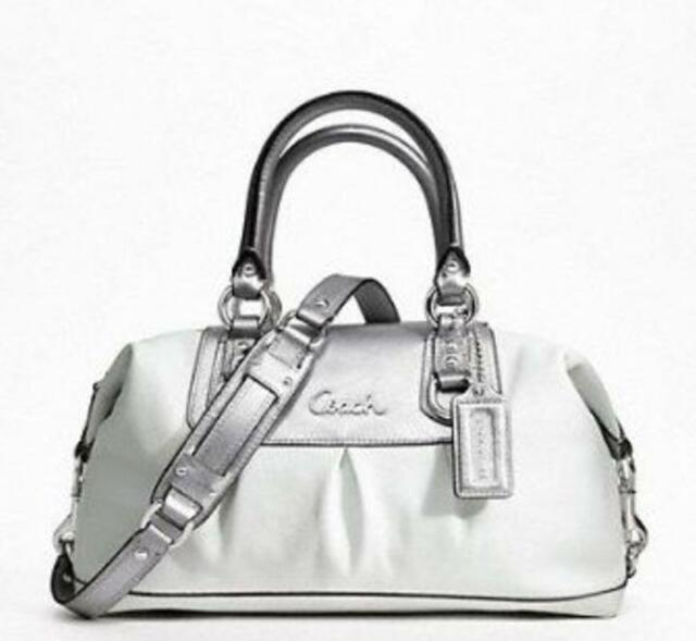 2d387e314 NWT Coach Ashley Convertiable Duffle 15445 White/Silver Leather Shoulder Bag