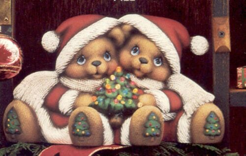 Christmas Tree Teddy Bear Cuddles Ready to Paint Unpainted Ceramic Bisque