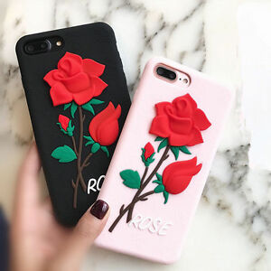 check out d2b32 6ac50 Details about 3D Red Rose Flower Soft Silicone Phone Case Rubber Cover For  iPhone 6 7 8 Plus