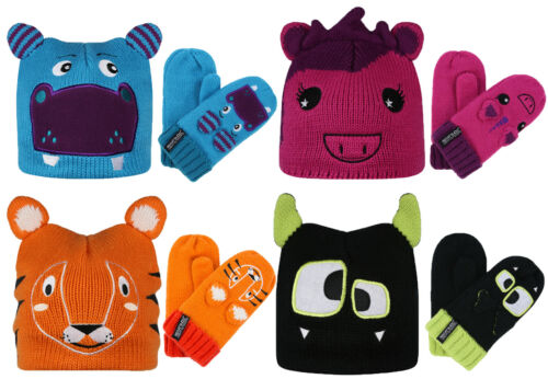 Regatta pourtant & Mitaines Sets Childrens Kids Animal Colourful Fun chaud Cosy Novelty