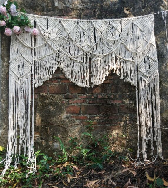 Boho Large Macrame Wall Hanging Door Window Curtain Wedding Backdrop Arch  Arbor