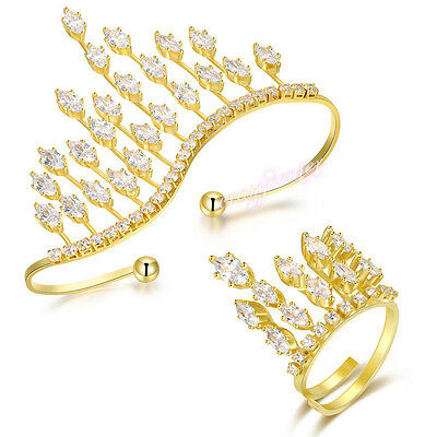 Crystal Crown Cubic Zirconia Statement Palm cuff Bracelet Ring Set Xmas Gift