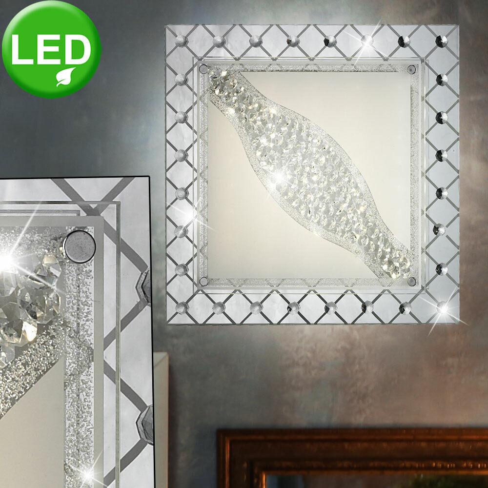 LED Kristall Decken Lampe Wohn Ess Zimmer Beleuchtung Glas Wand Leuchte silber