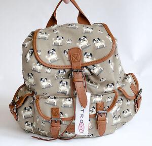 New-Metro-Soft-Canvas-Rucksack-Backpack-Pug-Dog-Pattern-Brown