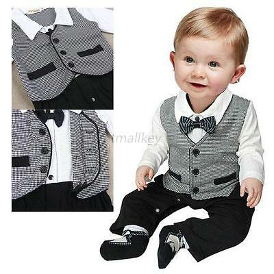 Boy Baby Gentleman Formal Suit Romper #G Pants One-piece Jumpsuit Clothes 0-18M