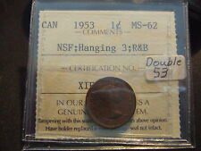 CANADA ONE CENT 1953 NSF HANGING 3, Double 53, ICCS MS-62!!!!!