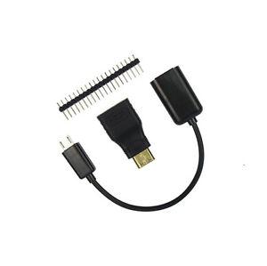 Details about 3 in 1 Raspberry Pi Zero Kit Mini HDMI to HDMI Adapter +  Micro USB+GPIO Header M
