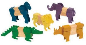 Guidecraft Block Mates Safari Animals, Age 3+ yrs G7603 New