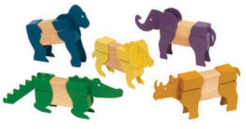 yrs G7603 New Guidecraft Block Mates Safari Animals Age 3
