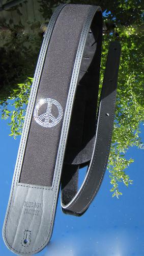 Blau Bud Peace Rhinstone Guitar Strap GuitarStrap Leather XL