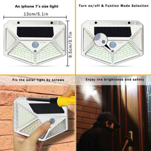 100 LED Solar Power PIR Motion Sensor Waterproof Wall Lights Outdoor Garden Lamp
