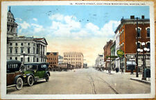 1922 Marion, Indiana Postcard: Fourth Street/Drug Store/Downtown - IN