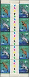 Australia-1998-SG1822-1823-Seadragon-And-Dolphin-gutter-block-of-10-MNH
