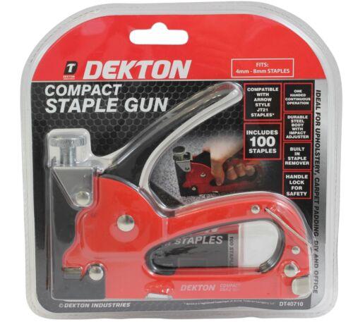 Dekton Metal Compact Hand Staple Gun Tool 100 Staples Upholstery Carpet Padding