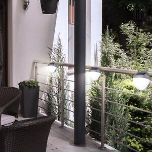 3er Set Led Garten Solar Zaun Mauer Wand Spot Deko Lampe Grau