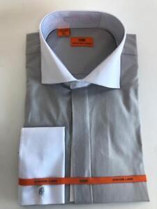 9956cc7f9410 Men's Steven Land Silver/White Spread Collar and French Cuffs Dress ...