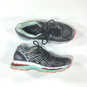 Asics Gel-Nimbus 19 Running Shoes Womens Size 7 Gray Coral T750N