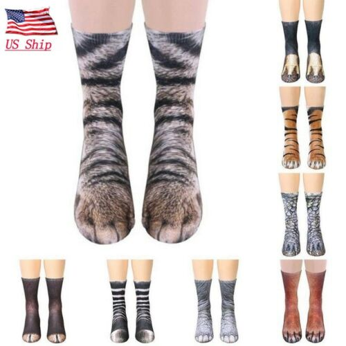 US Adult Animal Paw Crew Socks Sublimated Print Inspired Party Fancy Xmas Gifts