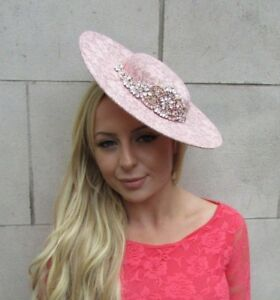 Large Rose Gold Blush Nude Pink Lace Boater Hat Fascinator Disc Hair ... 56c3dcd9b66