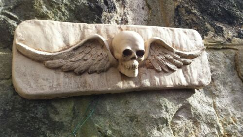 Winged Skull Wall plaque Gothic Cast Stone Concrete