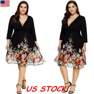 Plus-Size-XL-5XL-Women-Floral-Chiffon-Dress-Evening-Cocktail-Party-V-neck-Dress