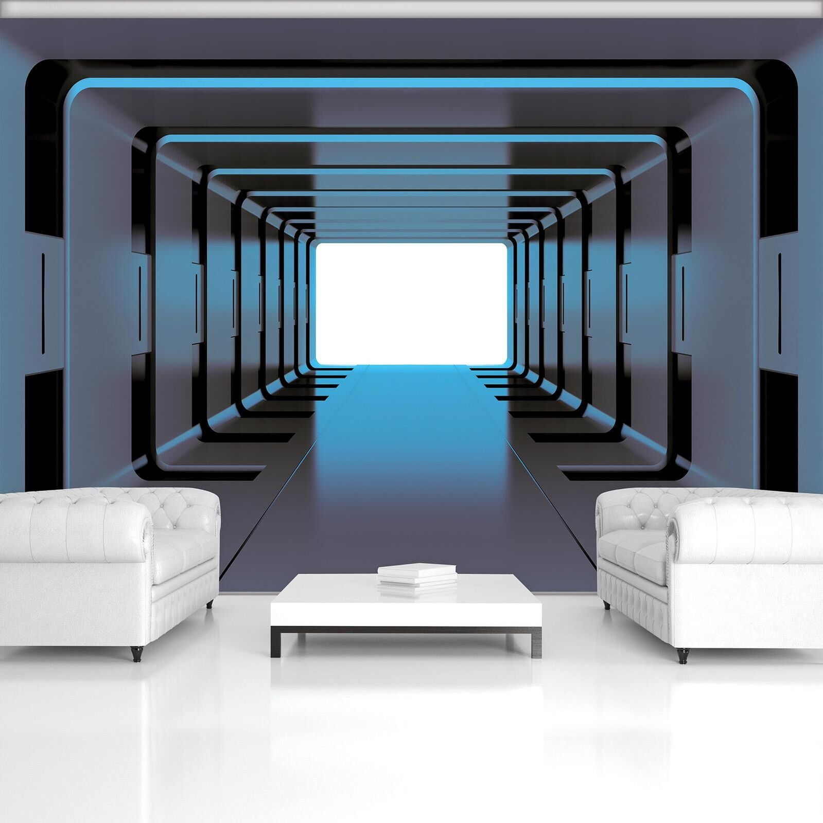 Photo Wallpaper Mural Non-woven 20189_VEN bluee 3D Tunnel Abstraction Tunnel 3D T