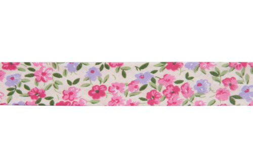 Bias Binding Cotton Printed Floral 25mx20mm Pnk Grn Lil Crm Tool UK