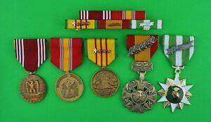 ARMY VIETNAM WAR 5 MEDALS & MOUNTED 5 RIBBON BAR  - USA - 8 Campaigns