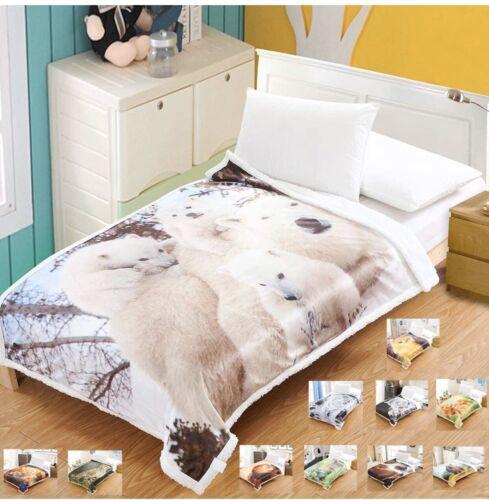 "Large Polar Bear Fleece Super Soft Blanket 50x67"" Bed Sofa Garden Snuggle"