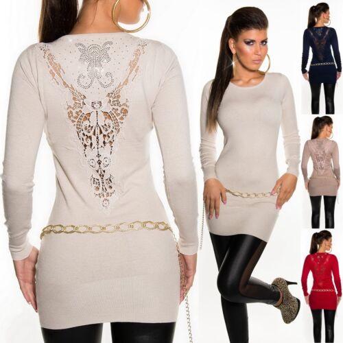 L XL Damen Spitze Rückseite mit Strass Akzent Pullover S//M