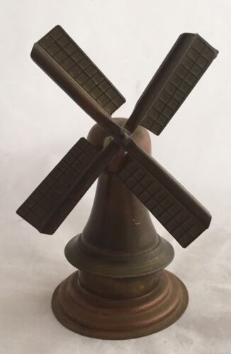 Antique Copper And Brass Dutch Windmill Miniature Souvenir Doll House Toy
