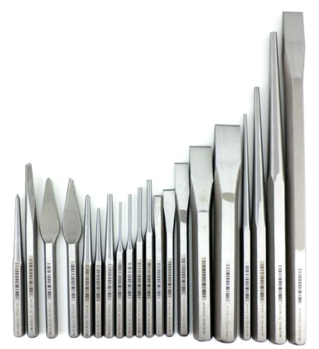 Wilde 36pc Punch /& Chisel Set K36.NP with Stand Natural Steel Finish MADE IN USA