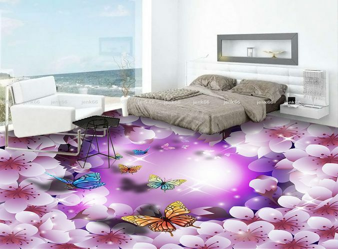 3D Dream lila Flower 0 Floor WallPaper Murals Wall Print Decal 5D AJ WALLPAPER