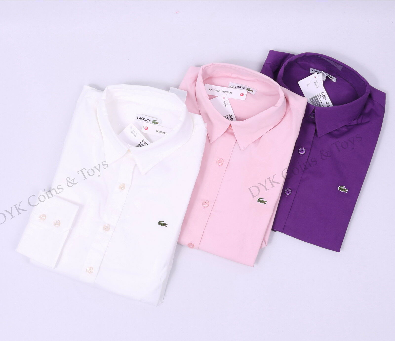 Lacoste damen Long Sleeve Button Down Sold Casual Shirt Stretch -  shipping