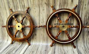 Set Of 2 Nautical Wooden Ship Steering Wheel 24 Pirate Decor Wood Wall Boat Ebay