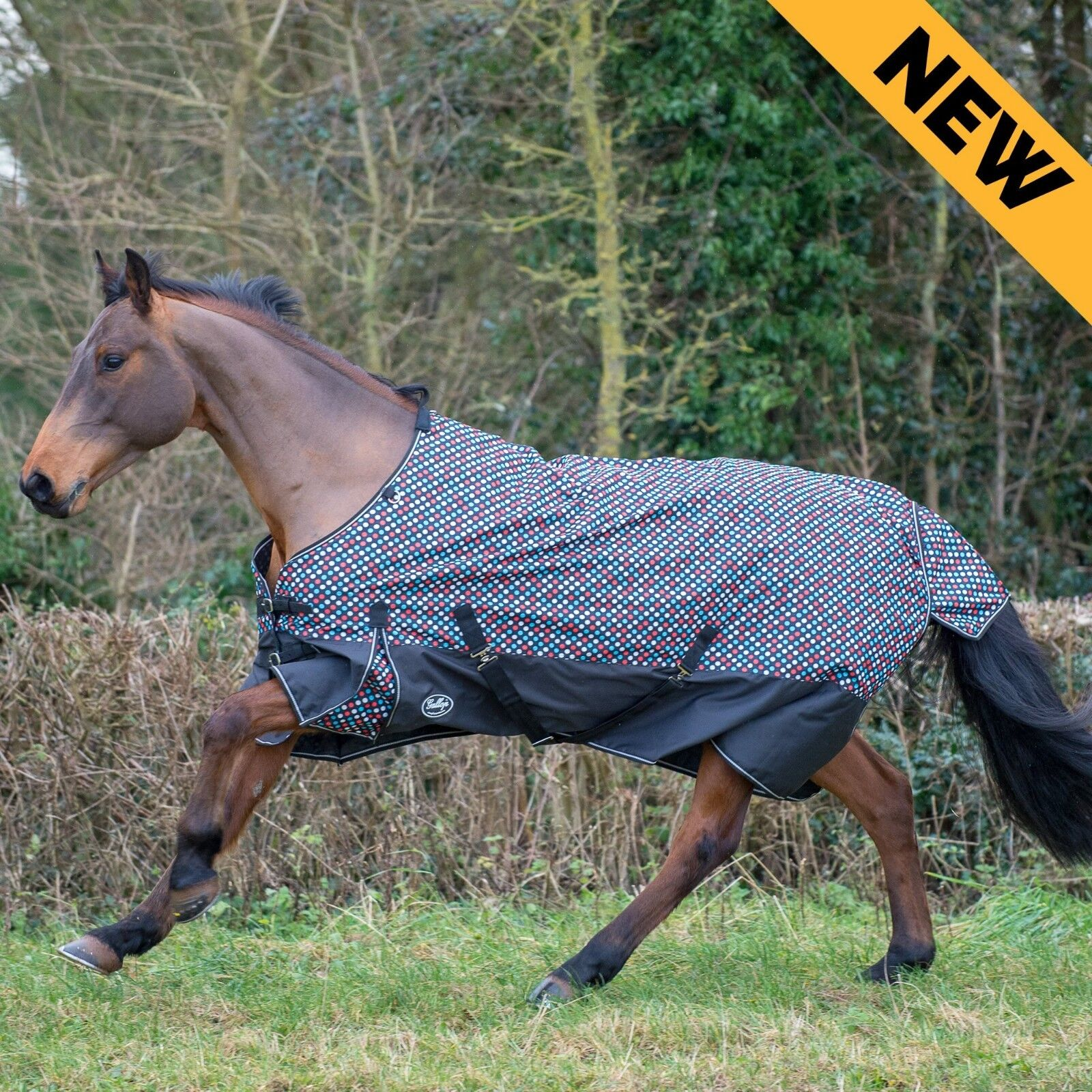 GALLOP Lightweight Horse Turnout Rug - Polka Dot - All Sizes Waterproof No Fill