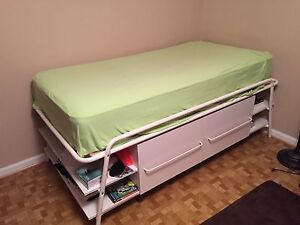 Image is loading Ikea-Morrum-Twin-Bed-with-Storage & Ikea Morrum Twin Bed with Storage | eBay