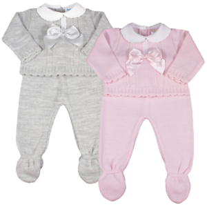 Baby girl Spanish style knitted 2 pce BOW outfit set leggings jumper grey pink