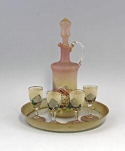 99835251-Glas-Likoergarnitur-Gebirgsmalerei-mundgeblasen-handbemalt