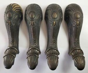 Details About Set Of Four Ornate Br Furniture Stove Legs Vintage Antique Salvage Parts