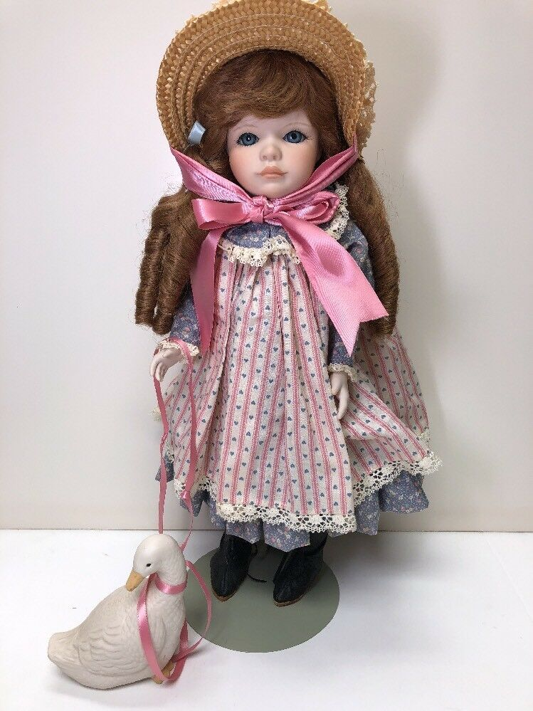 18  Porcelana hermosa rubia  ganso Girl  Muñeca por Muñecas por Jerry con Pato 8819