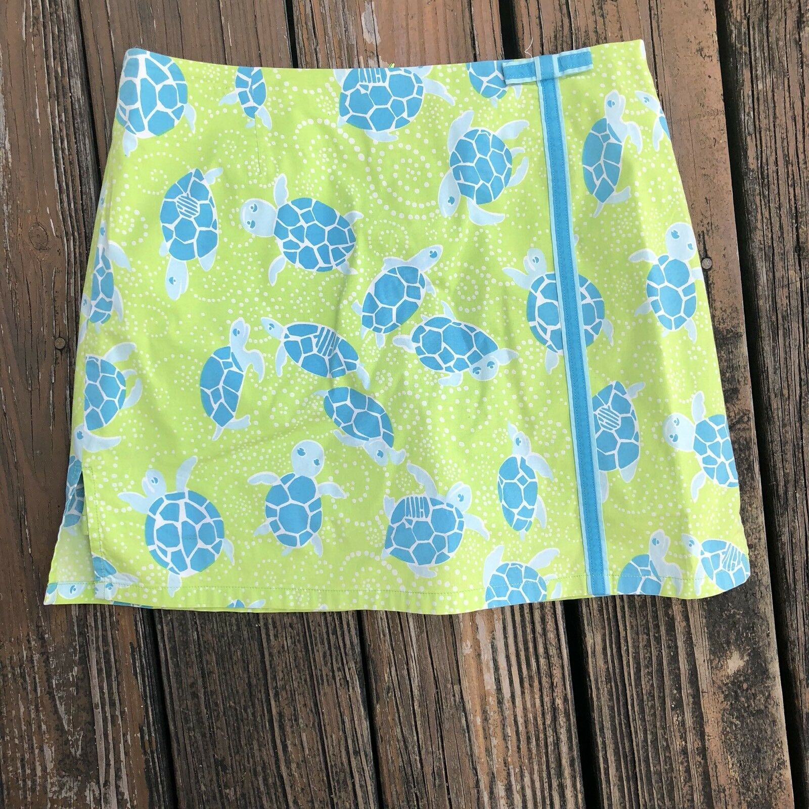 Vintage Lilly Pulitzer Turtle Lennie Skort 4 Skirt Shorts bluee Green White Label