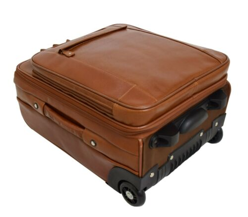 Luxurious Cognac Leather Cabin Suitcase Unique 2 Wheels Hand Luggage Trolley NEW