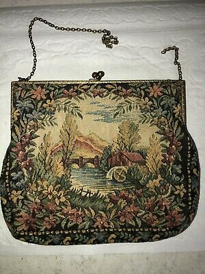 Vintage TAPESTRY WALBORG Victorian Handbag Metal Frame