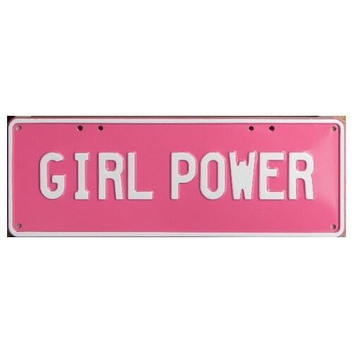 Novelty Number Plate Girl Power White On Pink AUS Licence Plate Sign Wall Ar
