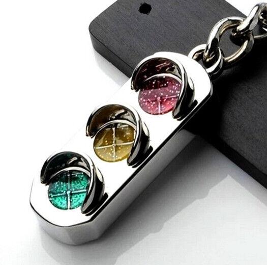 New Mini Traffic Light Car Key Ring Chain Classic 3D Keyfob Keychain Gift GRAU